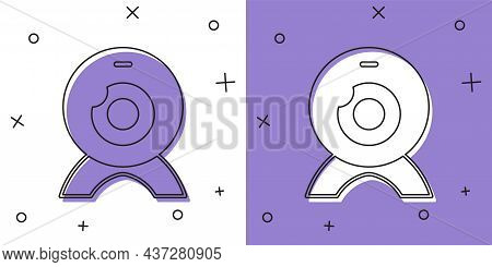 Set Web Camera Icon Isolated On White And Purple Background. Chat Camera. Webcam Icon. Vector