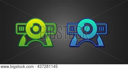 Green And Blue Web Camera Icon Isolated On Black Background. Chat Camera. Webcam Icon. Vector