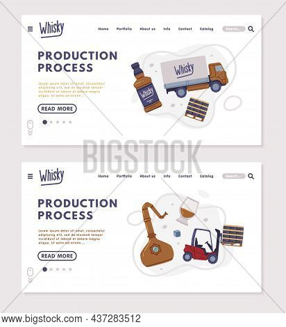 Landing Page With Whiskey Production Process With Lorry And Glass Bottle Vector Template