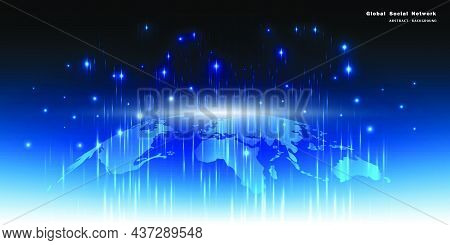 Map Of The Planet. World Map. Global Social Network. Future. Vector. Blue Futuristic Background With