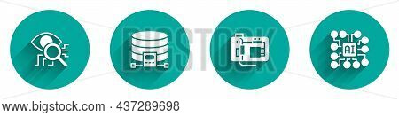 Set Eye Scan, Cloud Database, Motherboard And Neural Network Icon With Long Shadow. Vector
