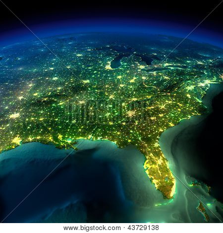Night Earth. A Piece Of North America - South Eastern United States And Canada
