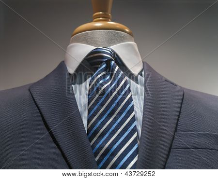 Gray Striped Jacket With Blue Striped Shirt And Tie