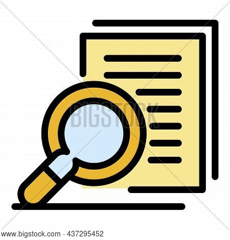 Audit Magnifier Icon. Outline Audit Magnifier Vector Icon Color Flat Isolated