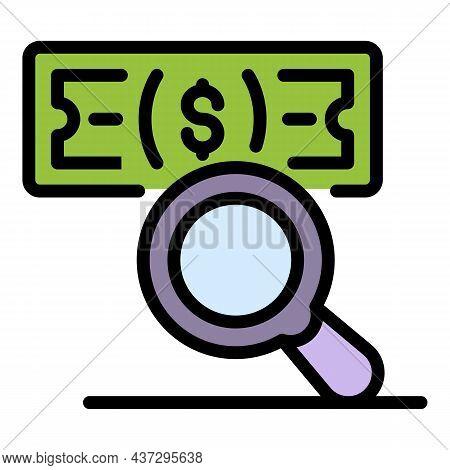Cash Money Under Magnifier Icon. Outline Cash Money Under Magnifier Vector Icon Color Flat Isolated