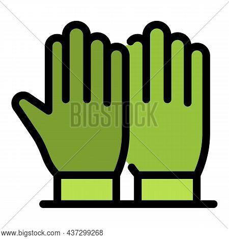 Tiler Gloves Icon. Outline Tiler Gloves Vector Icon Color Flat Isolated