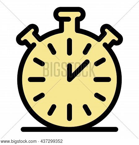 Stopwatch Icon. Outline Stopwatch Vector Icon Color Flat Isolated