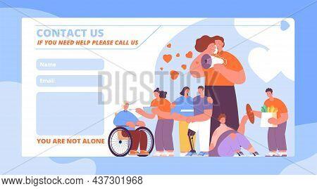 Volunteering Help. Volunteers Helping, Online Social Service For Grandmother. Support Seniors And Pe