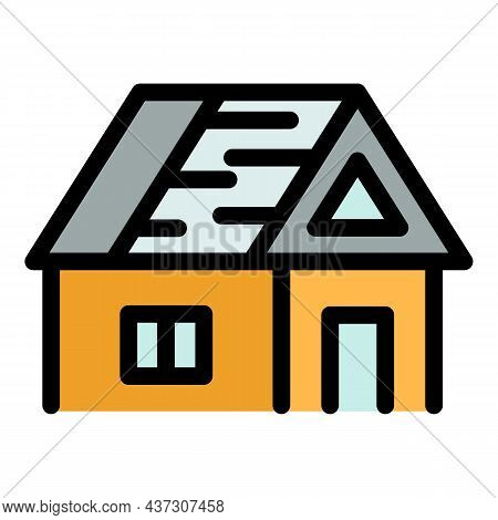House With An Unfinished Roof Icon. Outline House With An Unfinished Roof Vector Icon Color Flat Iso