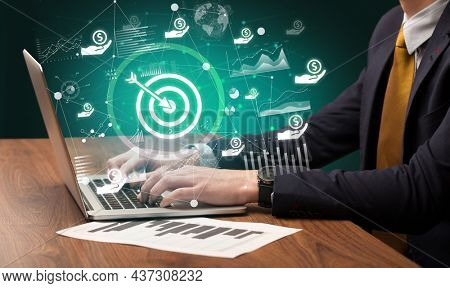 Business hand working on laptop, successful business concept
