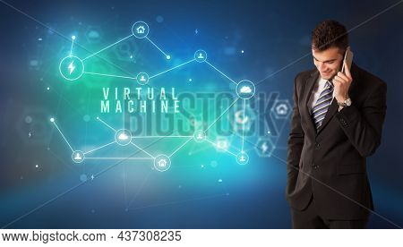 Businessman thinking about technology concept