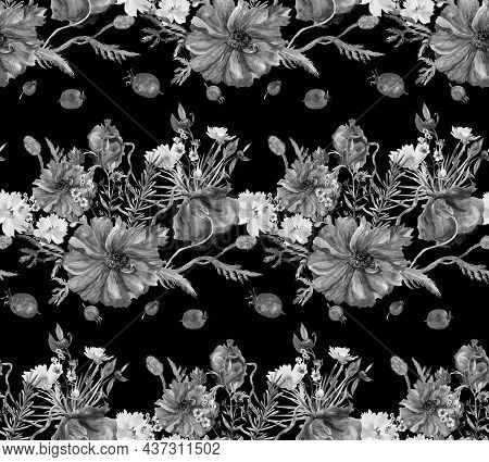 Black And White Seamless Watercolor Pattern With Wildflowers And Poppies And Scattered Hawthorn On A