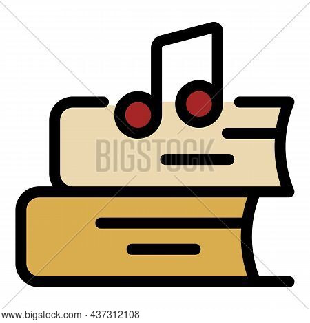 Two Books And A Musical Note Icon. Outline Two Books And A Musical Note Vector Icon Color Flat Isola