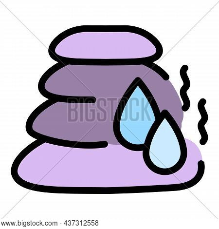 Steam Room Stones Icon. Outline Steam Room Stones Vector Icon Color Flat Isolated