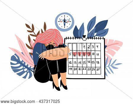 Female Period Days. Woman Menustration Calendar Cartoon Vector, Feminine Cramp Fertile Cycle Hygiene