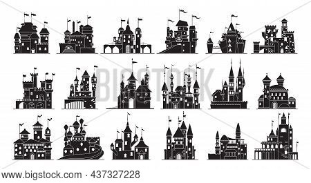 Medieval Castle Isolated Black Set Icon. Vector Illustration Ancient Palace On White Background. Vec
