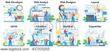 Web Development Concept Set. Creating And Presenting Content