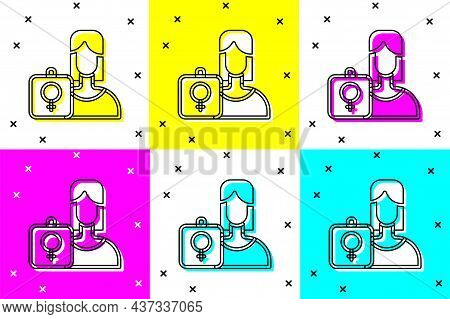 Set Female Movement, Feminist Activist With Banner And Placards Icon Isolated On Color Background. F