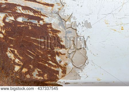 Peeling Paint Of Old Rusty Car, Durable And Weathered White Metal Surface.