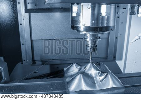 The Cnc Milling Machine Cutting The  Mold Parts By Solid Ball End Mill Tool Type. The Mold And Die M