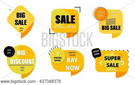 Sale, Special Offer, 50% Discount. Set Of Advertising Stickers, Labels. Low Prices. Retail Business