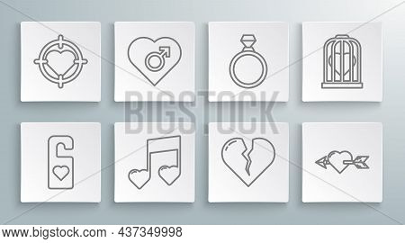 Set Line Please Do Not Disturb With Heart, Music Note, Tone Hearts, Broken Or Divorce, Amour And Arr