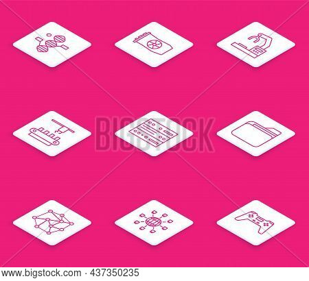 Set Line Dna Symbol, Video Graphic Card, Robotic Robot Arm Hand Factory, Factory Conveyor System Bel