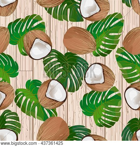 Coconuts On A Wooden Background.colored Vector Pattern With Coconuts And Palm Leaves On A Wooden Bac