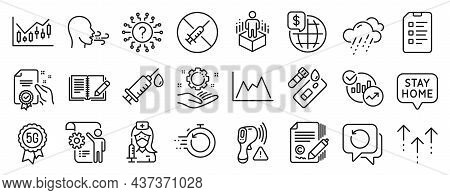 Set Of Science Icons, Such As Rainy Weather, Checklist, Augmented Reality Icons. Stay Home, World Mo