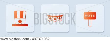 Set Carnival Garland With Flags, Patriotic American Top Hat And Vote. White Square Button. Vector