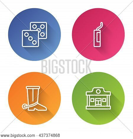 Set Line Game Dice, Dynamite Bomb, Cowboy Boot And Wild West Saloon. Color Circle Button. Vector