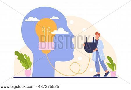 Advice Support Concept. Man Helps Another Find Idea. Silhouette Of Head With Light Bulb Inside. Trai