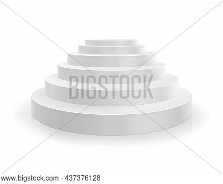 Podium. White Round Stairs. Empty Circular Pedestal Isolated Illustration Vector