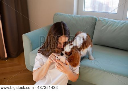 Young Woman Sitting At Home With Cavalier King Charles Spaniel Dog And Phone.