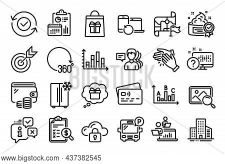 Vector Set Of Clapping Hands, Survey Results And Target Line Icons Set. Calendar Report, Money Walle