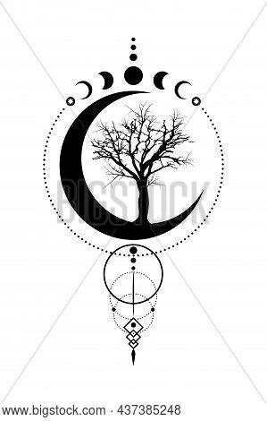 Mystical Moon Phases, Tree Of Life, Sacred Geometry. Triple Moon, Half Moon Pagan Wiccan Goddess Sym