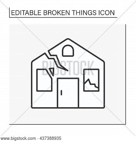 House Line Icon. Smashed House. Destroyed Roof And Windows. Need Repair. Vandalism. Broken Things Co