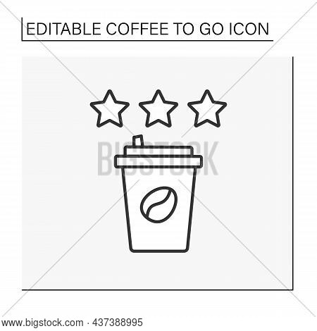 Review Line Icon. Positive Review On Coffee. Three Stars For Tasty Hot Drink.coffee To Go Concept. I