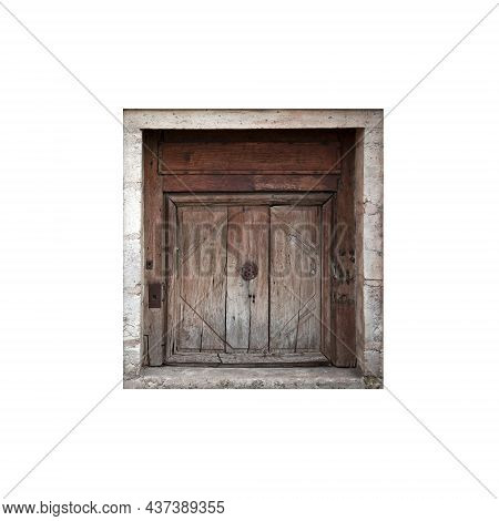 Old Weathered Wooden Gate Isolated On White Background