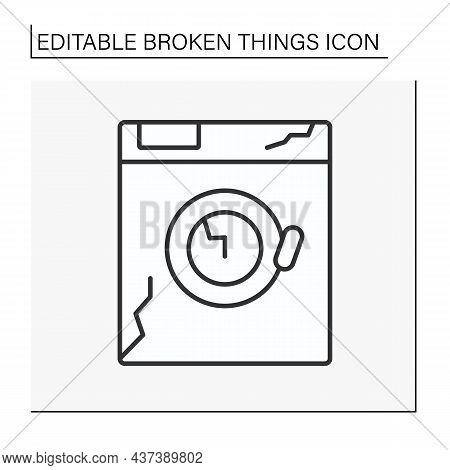 Device Line Icon. Destroyed Electronic Device. Smashed Washing Machine. Vandalism, Chaos. Broken Thi