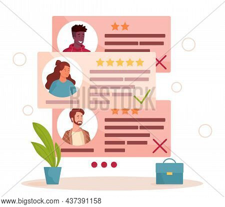 Interview, Recruitment Agency. Company Looks At Profiles Of Candidates. Hired And Not Hired, Hr. Emp