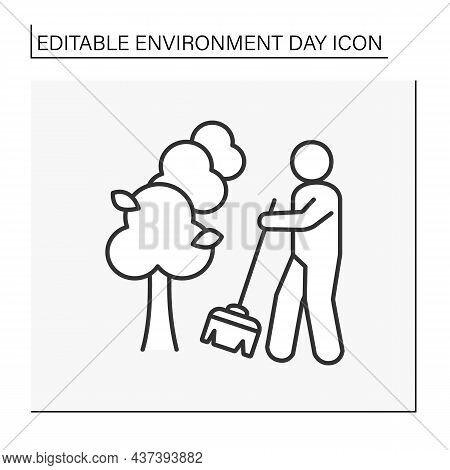 Nature Line Icon. Cleaning Territory. Caring For The Planet.man With Broom Sweeps. Environment Day C