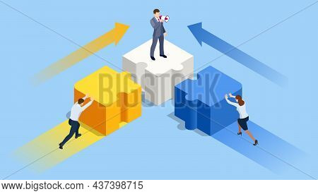 Isometric People Connecting Puzzle Elements. Business Teamwork, Cooperation, Partnership. Team Work,