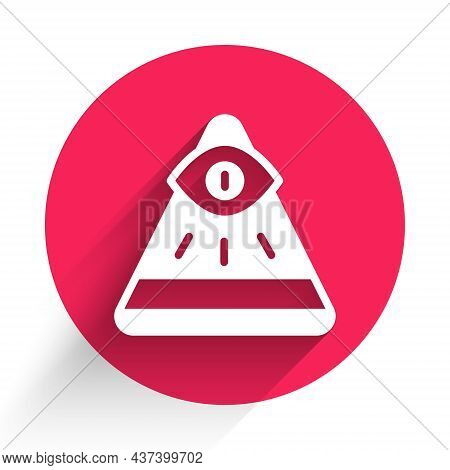 White Masons Symbol All-seeing Eye Of God Icon Isolated With Long Shadow. The Eye Of Providence In T