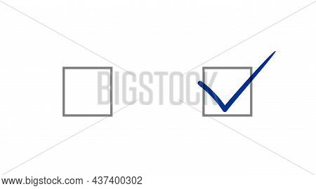 Checked And Blank Uncheck Checkbox. Check Box Set. Vector Eps Icons For App And Website