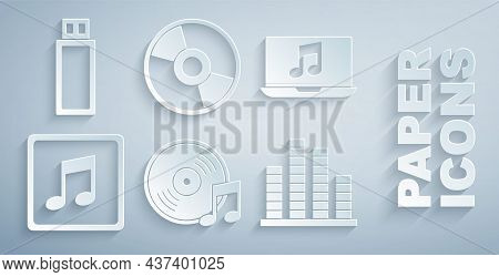 Set Vinyl Disk, Laptop With Music Note, Music Note, Tone, Equalizer, Cd Or Dvd And Usb Flash Drive I