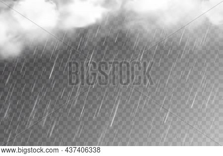 Rain Water Drops And Clouds On Transparent Background, Vector Falling Raindrops Or Rainy Weather Pat