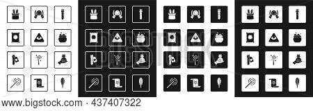 Set Bottle With Potion, Masons, Ancient Magic Book, Magician Hat And Rabbit Ears, Witch Cauldron, Ba
