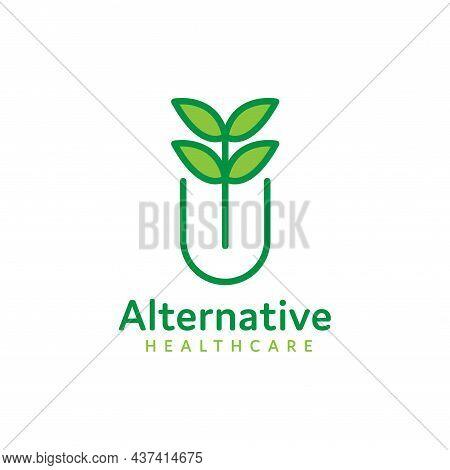 Nature And Health Alternative Herbal Medicine Logo Vector Design, Medicine Pharmacy Logo. Medical He