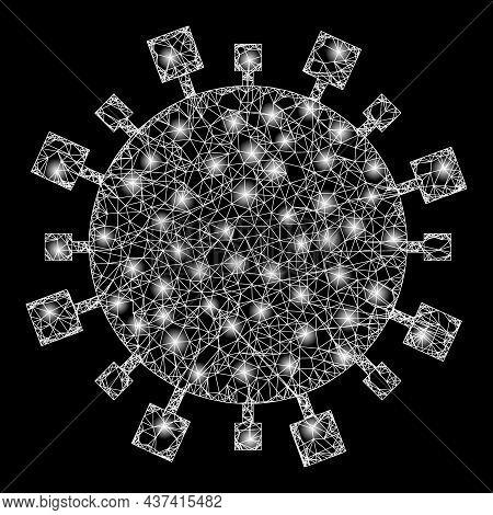 Constellation Crossing Mesh Digital Virus With Glowing Spots. Vector Model Generated From Digital Vi